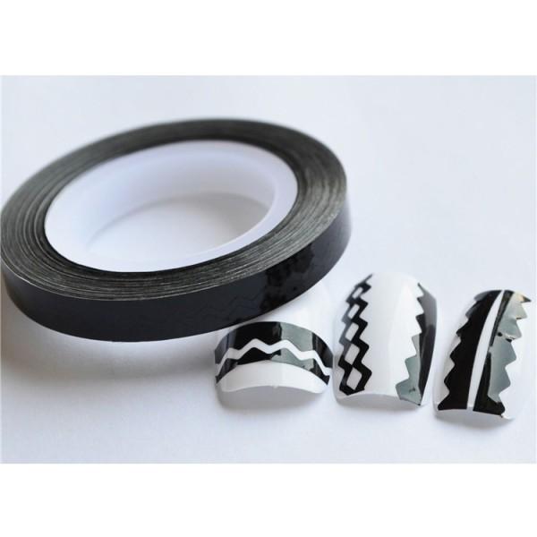 Striping tape, nageltejp, Sicksack! 12 färger 5. Svart