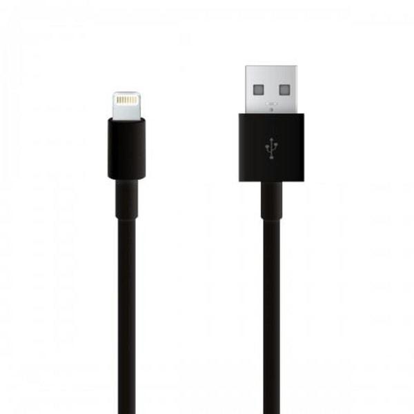 Svart Lightning kabel för både laddning och överföring 2m svart 2 m