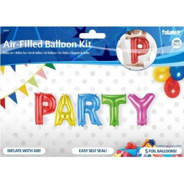 Ballonger som bildar texten PARTY - 36 cm (14 tum) MultiColor