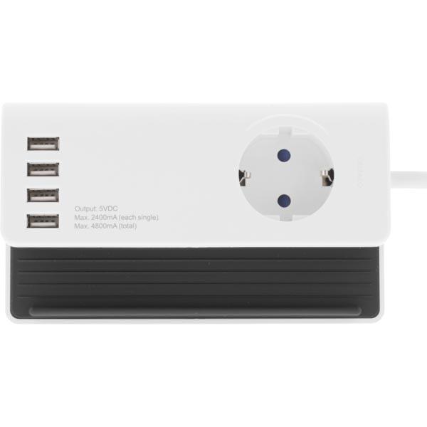 Jordad väggladdare 4xUSB + CEE väggkontakt + mobilhållare