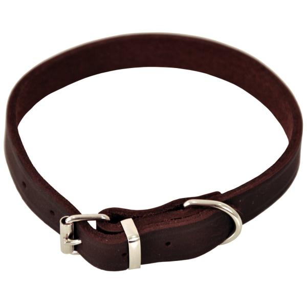 Läderhalsband brun- Dogman Brown M