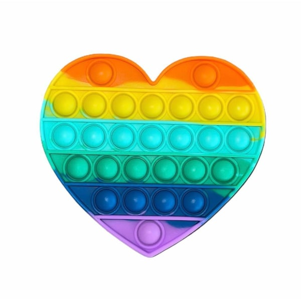 Pop it- Fidget Toy / Fidget Leksak- RAINBOW i flera modeller MultiColor Hjärta- Regnbåge
