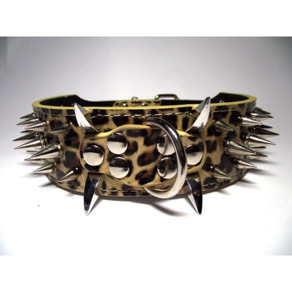 "Hund halsband 2"" med nitar Leopard 39-47cm pitbull amstaff"