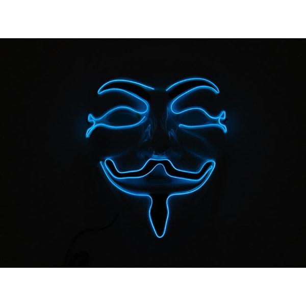 Mask Happy face med Glowstrip Blå