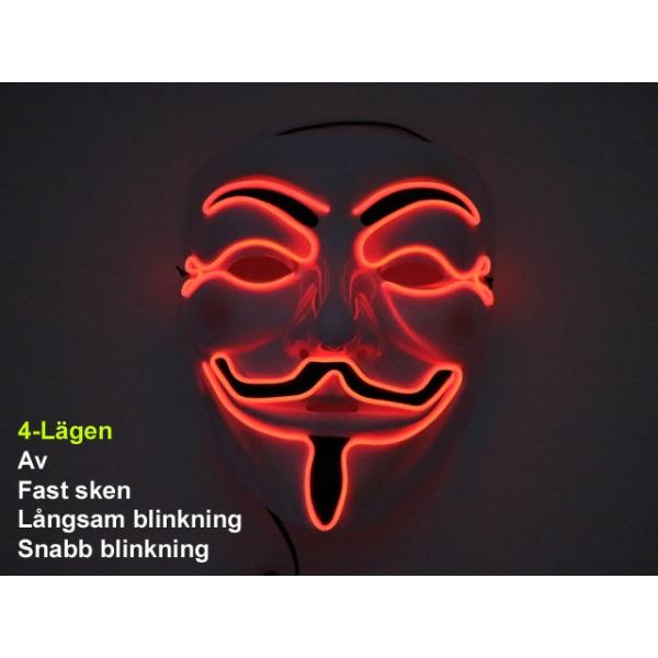 Mask Happy face med Glowstrip Röd