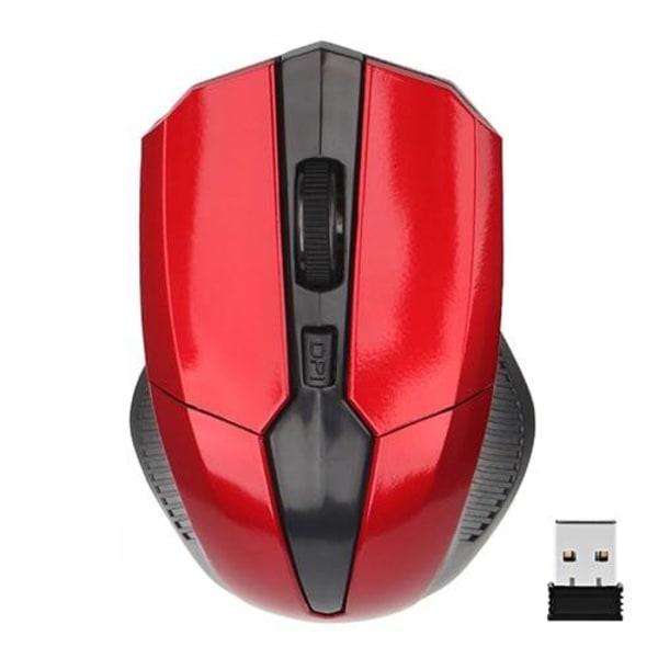 Optisk Trådlös mus röd grå