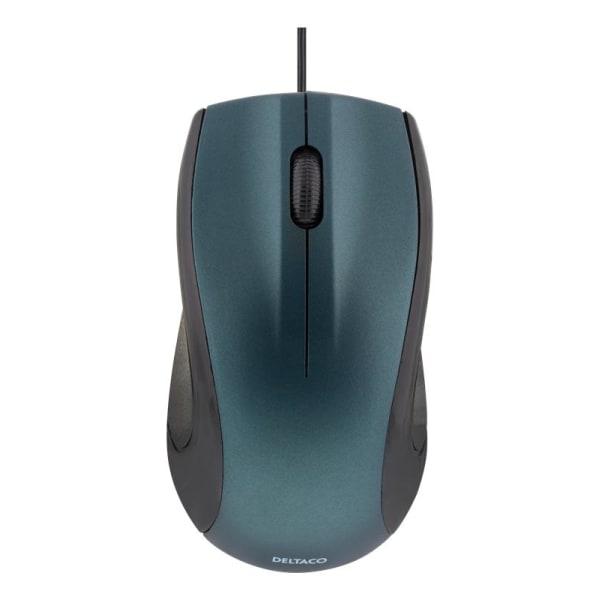 DELTACO trådad optisk mus, 3 knappar med scroll, 1200 DPI, blå