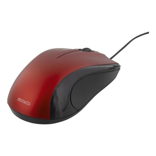 DELTACO trådad optisk mus, 3 knappar med scroll, 1200 DPI, röd