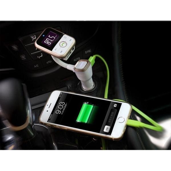 FM-sändare med Bluetooth-handsfree och billaddare (guld)