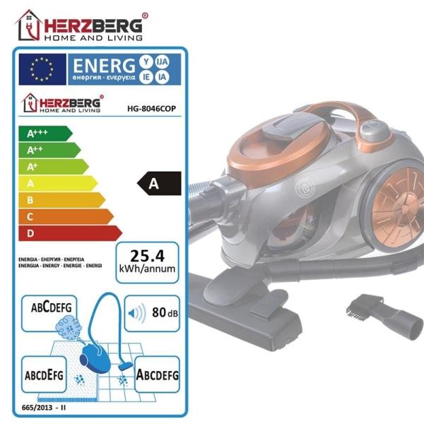 Herzberg HG-8046COP: Påslös dammsugare