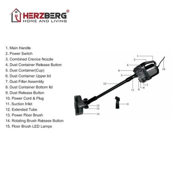 Högpresterande Skaftdammsugare - Herzberg HG-8007RD