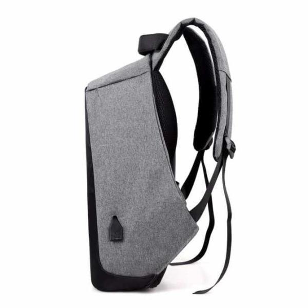 Inbrottsäker ryggsäck med USB-port, grå/svart
