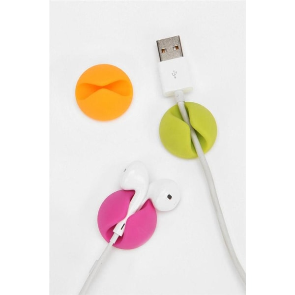Kabelhållare-Kabelclips, 6-pack (Gul/Rosa/Grön)