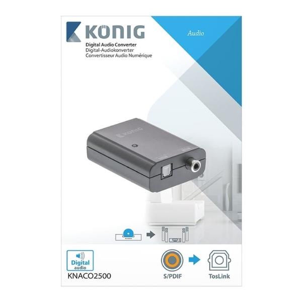 König Digital audioomvandlare S/PDIF hona - TosLink hona mörkgrå