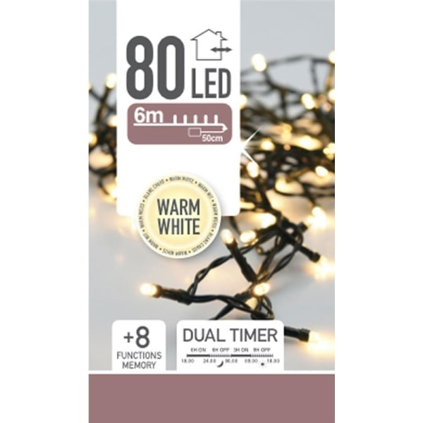 Ljusslinga med 80 LED-lampor - 6m, Varmvit