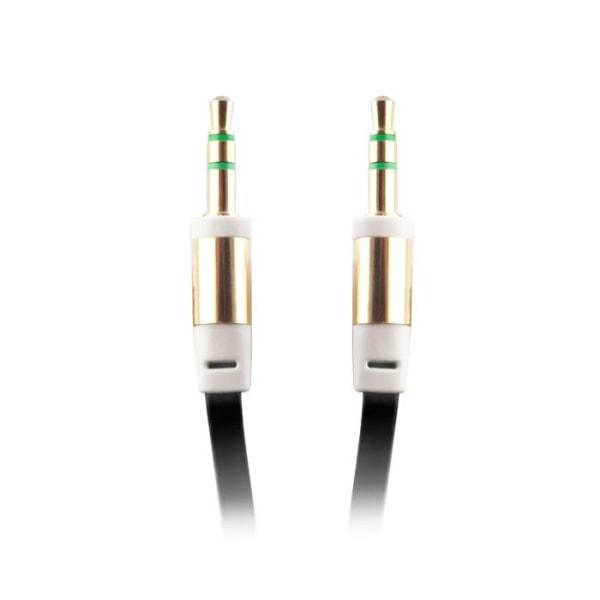 Platt och trasselfri AUX-kabel 3,5mm, svart (Ha-Ha)