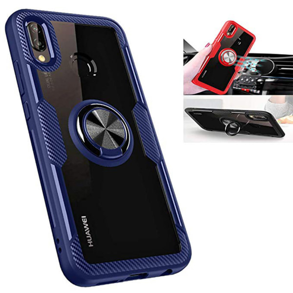 Samsung Galaxy A40 - Stilsäkert Smidigt Skal med Ringhållare Svart/Blå