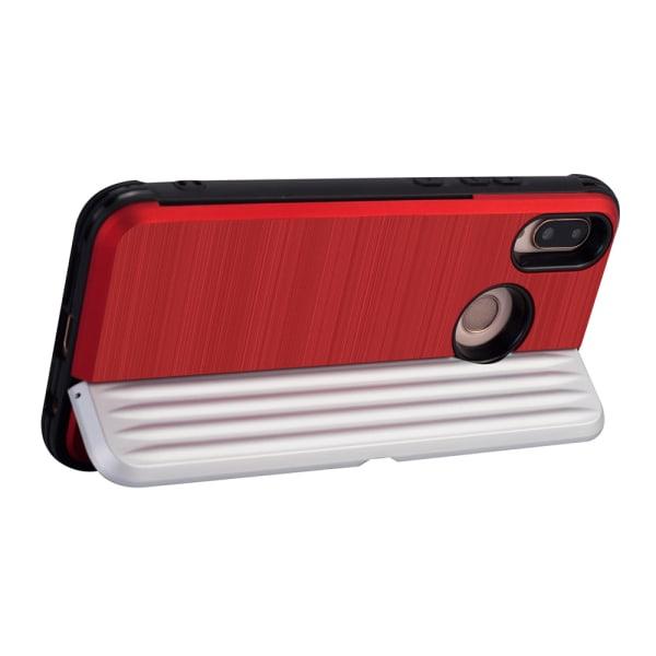Skyddande Skal med kortförvaring till (EXXO) Huawei P20 Lite Roséguld