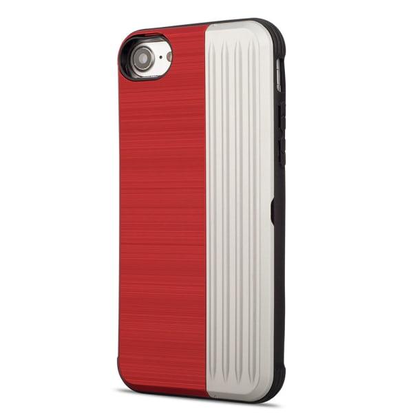 EXXO-Skyddsskal med plats för kort för iPhone 7 Röd