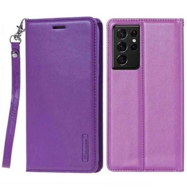 Praktiskt Plånboksfodral - Samsung Galaxy S21 Ultra Lila