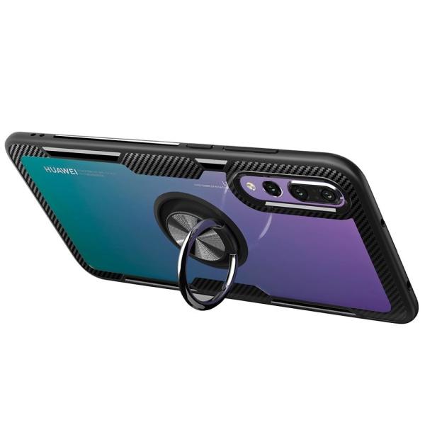 Professionellt Skal med Ringhållare Leman - Huawei P20 Pro Svart/Silver