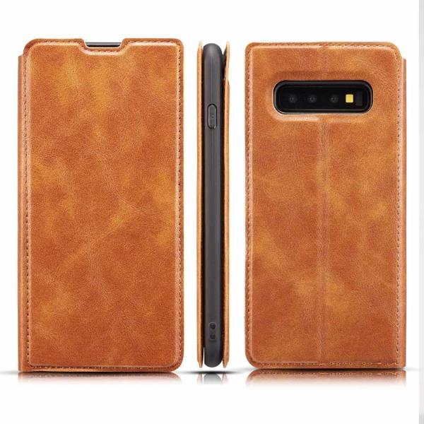Samsung Galaxy S10+ - Genomtänkt (Vintage) Plånboksfodral Brun