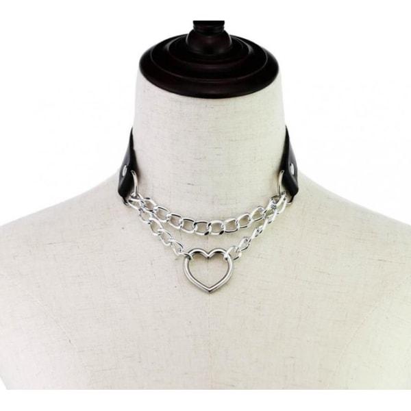 Choker Hjärta Collar SVART PU-läder Halsband Goth Harness Black