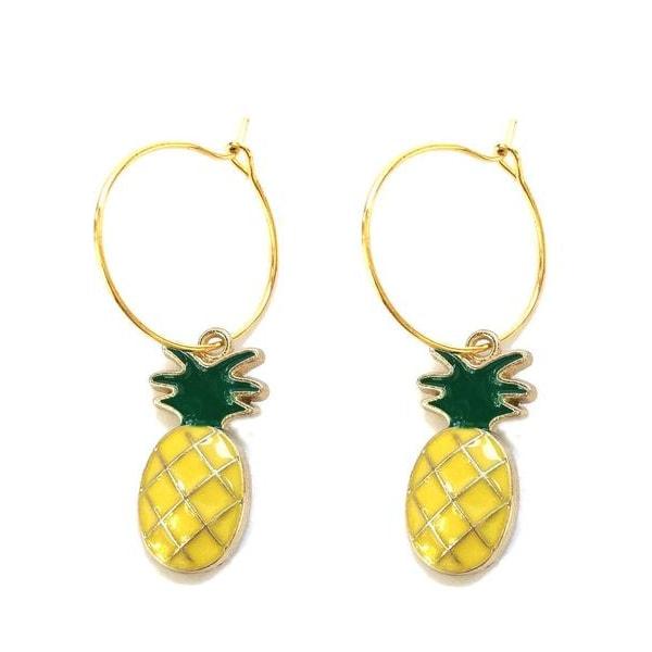 Creoler Örhängen Ananas Pineapple Frukt Fruit Hoops Ringar Gul