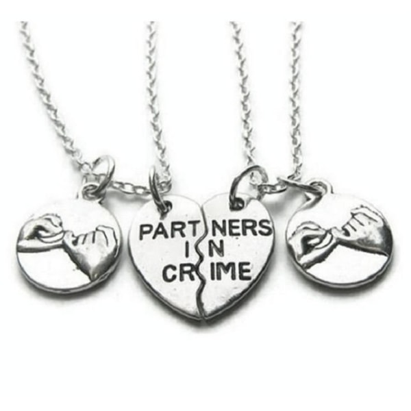Halsband Partners In Crime Pinky Kompis/Partner Friends 2 st Silver