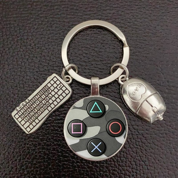 Nyckelring Playstation Gamer Kontroll Games Dataspel Retro Silver