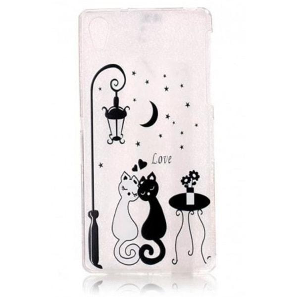 Sony Xperia X  - Katt & måne Katter LOVE Vit