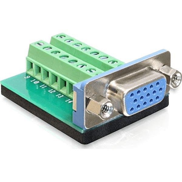 DeLOCK  VGA terminalblockadapter, HD15 hona