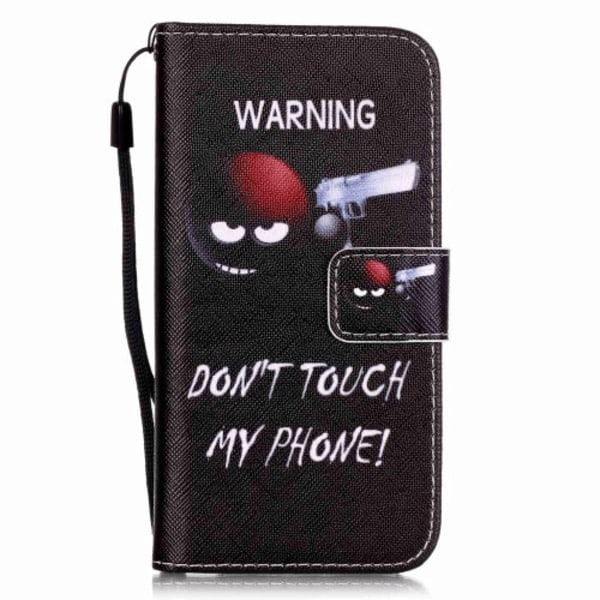 """Läderfodral """"Warning Don't touch my phone"""" till iPhone 7"""
