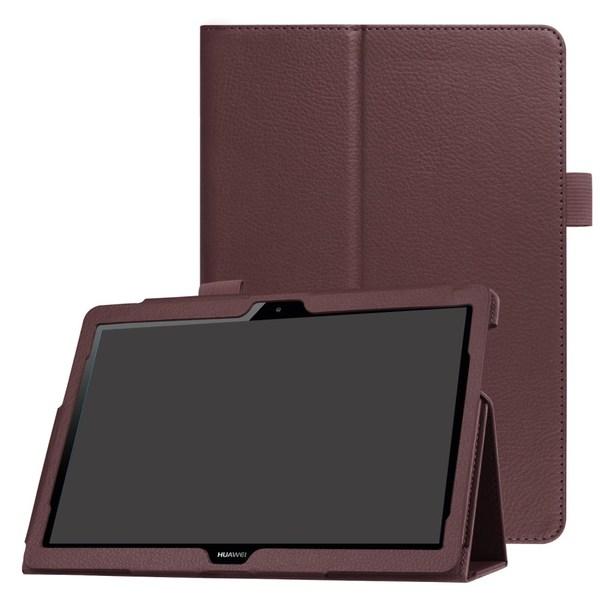 Litchi läderfodral till Huawei MediaPad T3 10 - Brun