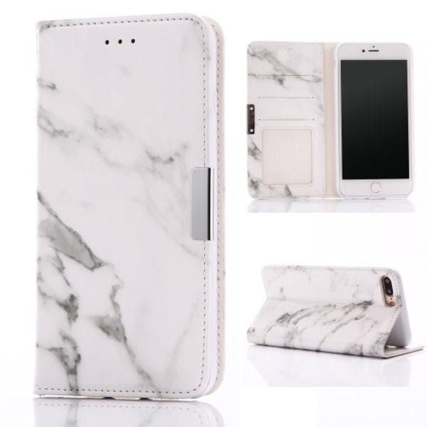 Marmormönstrat Plånboksfodral för iPhone 7-8-Plus - Vit
