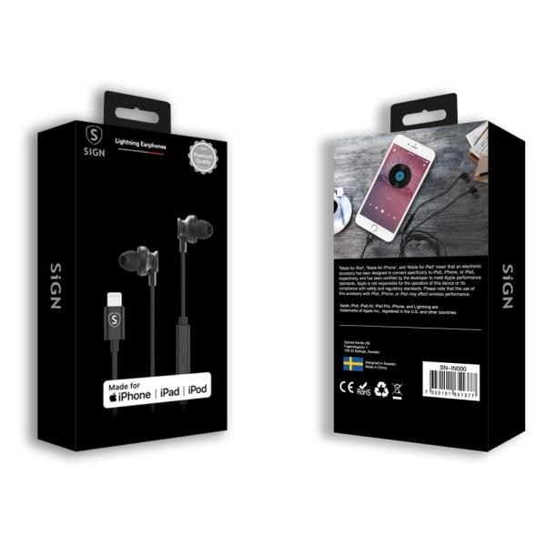 SiGN In-ear Lightning Hörlurar för iPhone - Svart