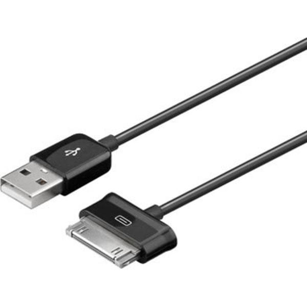 USB-synk-/laddarkabel för Samsung Galaxy Tab, 1,2m, svart