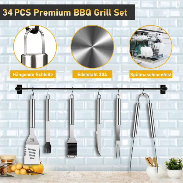 34 Piece BBQ Tool Set Stainless Steel