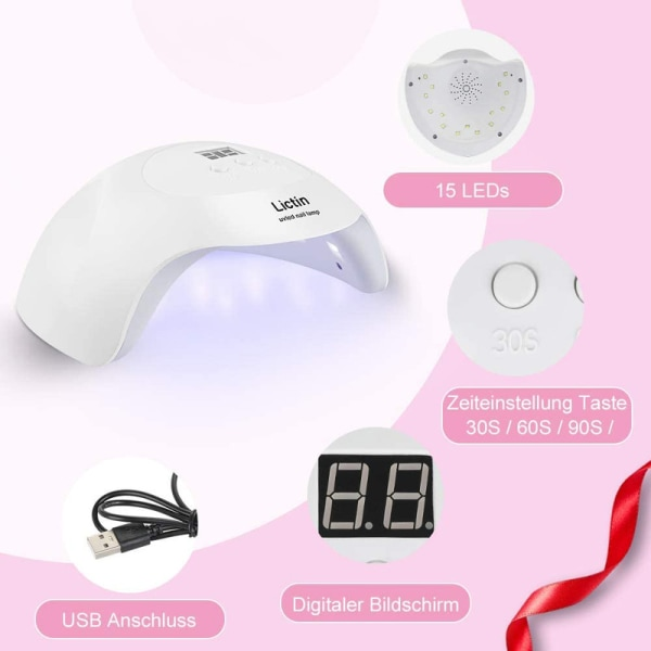 Komplett startkit för gelénaglar inkl LED/UV-Lampa
