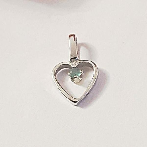 Hjärta med sten, silver