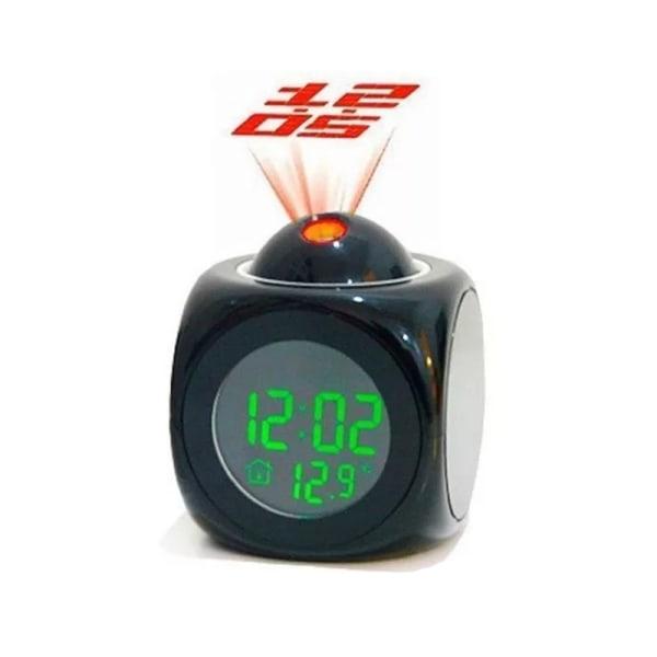 Digital väckarklocka-projektor Svart