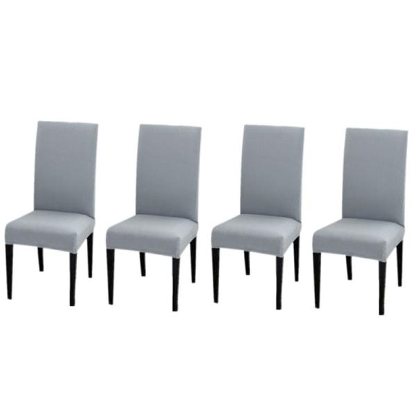 Fyra stretchbar matstolskydd Vanlig grå