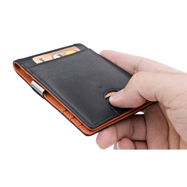 Äkta läder RFID-plånbok Svart med orange