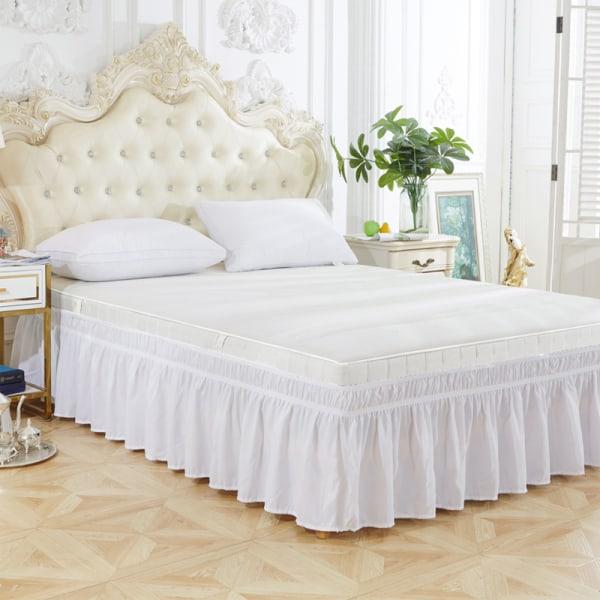 Ruggig säng kjolar Vit Drottning