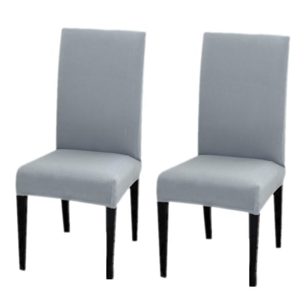 Två stretchbar matstolskydd Vanlig grå