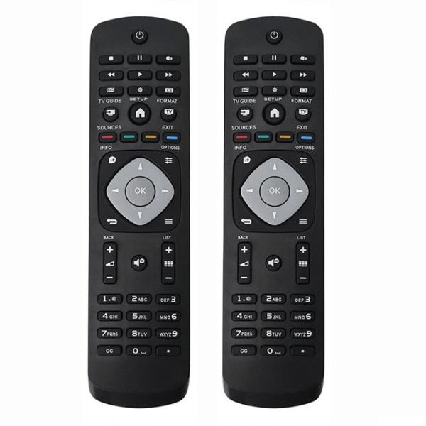 2x Universal Philips smart TV-fjärrkontrollersättning Svart