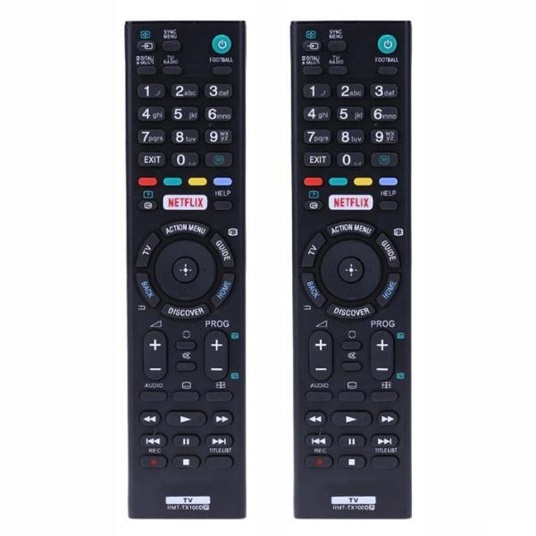 2x Universal RMT-TX100D fjärrkontroll ersätter Sony HDTV LED Svart