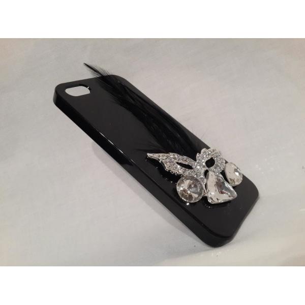 Apple Iphone 5 5S Fodral Skal Case Med Fågelfjäder Svart Svart