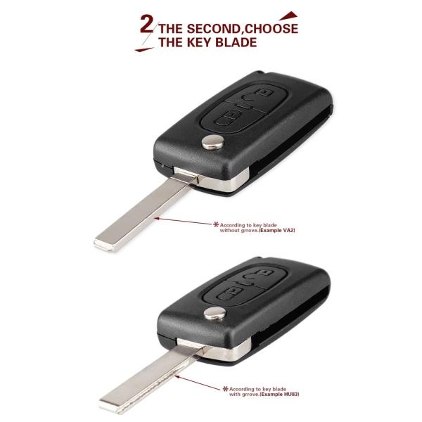 Flip-vikningsnyckeln skal 2 knappar CE0523 PEUGEOT VA2 blad Svart