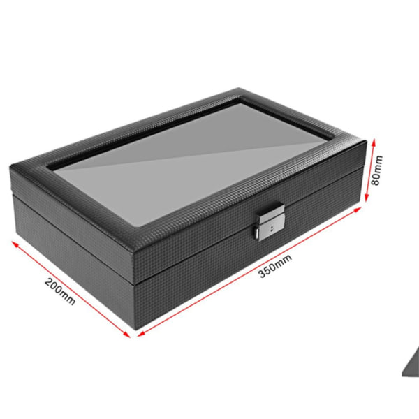 Watchbox / Klockbox 12 klockor Carbon Lyxmodell i svart CW012